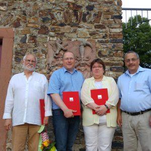 Die Geehrten im Bild von links nach rechts: Klaus Roth, Achim Glockengießer, Birgit Büchner und Stefan Lux
